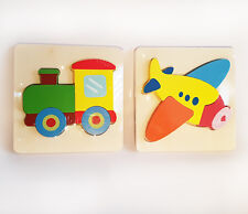 2 pk Wooden CHUNKY Insert First Early Puzzles, TRAIN & PLANE - Educational Toy