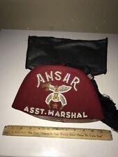 Vintage Jeweled Felt Masonic Asst. Marshal Shriner Hat With Tassel & Case