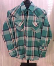 Men's Vintage 70's shirt 16 33 Ely Cattleman Western Cowboy Green Pearl snaps