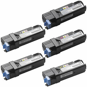 5pk NEW Black & COLOR Toner for Dell 2150cdn 2150cn 2155cdn 2155cn Printer