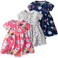 Toddler Kid Baby Girl Short Sleeve Floral Dress Princess Romper Dresses Clothes