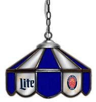 "Miller Lite Beer Stained Glass Mirror Table Light Poker 14""  Lamp"