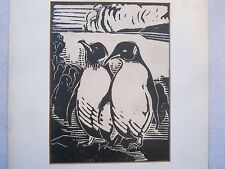 Rees signed original art 1930 RARE Penguins linocut EC!