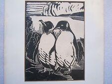 Rees signed original art 1930 RARE Penguins linocut EC!