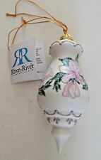 Rhyn Rivet Beautiful Fine Porcelain Glittered Floral Ornament(2000)Original Tag