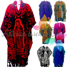 Mexican Jorongo Poncho with virgen de guadalupe Gaban w/Virgin Mary All Colors