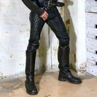 Men's Black Real Genuine Hide Leather Pant Motorcycle Biker Jeans Trousers