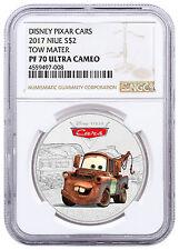 2017 Niue Disney Cars - Tow Mater 1 oz Silver Colorized $2 NGC PF70 UC SKU48206