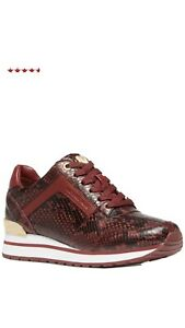 New Michael Kors Women's Billie Trainer Sneakers Leather Brandy 6 ❤️❤️