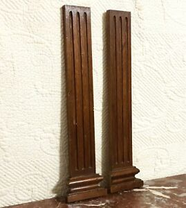 2 Decorative groove wood carving column Antique french architectural salvage