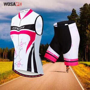 Ladies Cycling Jersey&Shorts Set Sleeveless Bike Shirt Bicycle Pants Women Suit