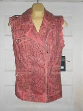 NWT GUESS Women's Mila Denim Moto Vest in Snake Foil Print Pink sz S MSRP $138