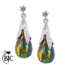 Lab-Created Diamond White Gold Fine Earrings