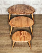 VINTAGE Ercol Pebble Nest Of Tables - Side Table Light Blonde Elm / Wood 354