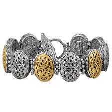Gerochristo P6309N ~ Sterling & Gold Plated Silver Byzantine Link Bracelet