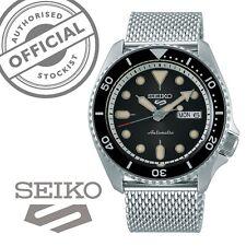 Seiko 5 Sports Black Dial Silver Steel Mesh Strap Auto Men's Watch SRPD73K1 £300