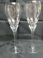 """Romanian Crystal Tulip Stem Wine Glasses 2 set 9 3/8"""" Tall 16 Oounce"""