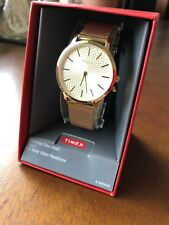 Ladies Timex Skyline Watch TW2R36100 thin Stainless Steel Gold band