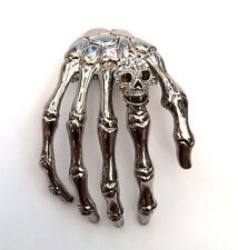 Butler and Wilson Large Skeleton Hand with Skull Shoulder Brooch Silver Tone New