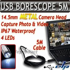 USB Moniteur 4 LED métal Caméra d'inspection Tube Endoscope DVR Câble de 5M