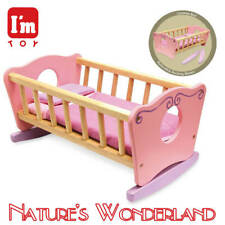 Dollie ROCKING CRADLE Pink Wooden Doll Bed - I'm Toy Eco sustainable rubber wood