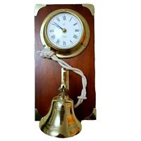 Vintage Nautical Brass Clock with Ships Bell Wooden Made England Sailing Marine
