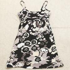 Small Old Navy Black White & Gray Floral Cotton Woman's Spaghetti Straps Dress