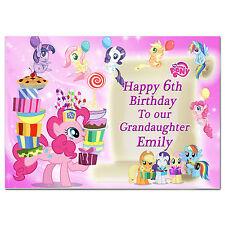 Rosa 379; gran tarjeta de cumpleaños personalizada; hecho para cualquier nombre; mi pequeño pony