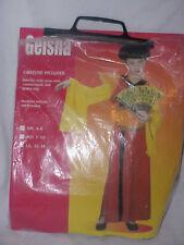 Geisha Halloween Costume Kiimono Style Wrap Robe Cummerbund & Wig Sz Sm 4-6