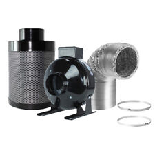 "4"" Inline Fan Carbon Air Filter Ducting Combo for Hydroponics Plant Growing"