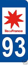 1 Sticker plaque immatriculation AUTO adhésif département 93