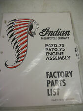 NOS INDIAN MOTORCYCLE P470-75 & P670-75 ENGINE ASSY FACTORY PARTS LIST