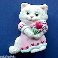 Hallmark PIN Valentines Vintage CAT Heart BOUQUET White Holiday Brooch