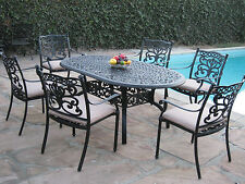 Outdoor Patio Furniture 7 Piece Aluminum Dining Set with 6 Arm Chairs DS-SA CBM