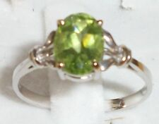 14KT Gold green peridot Hawaiian Diamond Ring 6.5 1.5g