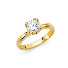 Engagement Wedding Ring Band 6.5mm 1ct 14k Yellow Gold Plain Round Cz Solitaire