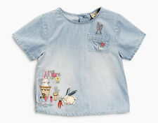 ВNWT NEXT Tops Tunic • Denim Embroidered Bunny Blouse • 100% cotton • 6-9 mns