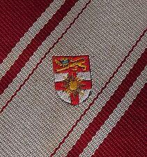 Crested polyester tie red grey stripe Vintage school company club POOR CONDITION
