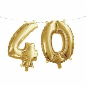 """Gold 40th Birthday Banner Supplies Number 16"""" x 5' Balloon Party Decoration"""