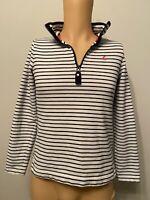 Joules Jumper Ladies Womens Size 10 White Blue Navy Stripe Sweatshirt Zip Pink