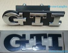 2PC GTI Grill Boot Emblem for VW Polo GOLF MK GTI Grille Rear Car CHROME Badge
