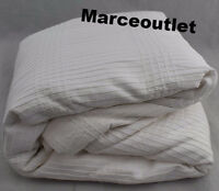 Hotel Collection Pleated Stripe Cotton FULL / QUEEN Duvet Cover White
