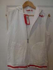 Sweat blanc PUMA sans manche, zippé, avec capuche. XS. Neuf avec etiquettes !
