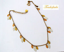 """14K Tri Color gold anklet beautiful with dnagle plates high polished 9 to 10"""""""