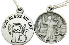 MRT One 2 Sided God Bless My Cat St Francis Pet Protector Medal Collar Clip Gift