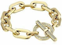 MICHAEL KORS MKJ4586710 Gold Tone Crystal Toggle Chain Links Bracelet MKJ4586
