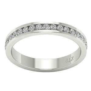 14k White Gold Channel Set Eternity Ring SI1 G 0.90 Ct Natural Diamond Size 5.50