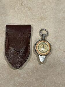 Vintage German Opisometer Compass Map Distance Measurer Reader Leather Case