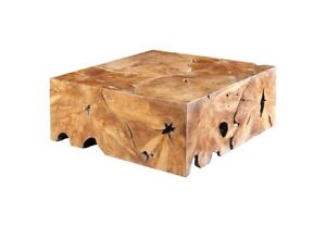 "39"" W Cocktail Table Teak Wood Natural Brown Tones Slice Coffee Square 1546"