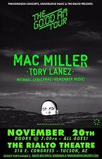 "MAC MILLER / TORY LANEZ ""GO:OD AM TOUR"" 2015 TUCSON CONCERT POSTER-Hip Hop Music"